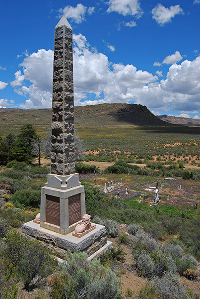 The monument to Major General Andrew Wauchope broods above the Monument Graveyard outside Matjiesfontein