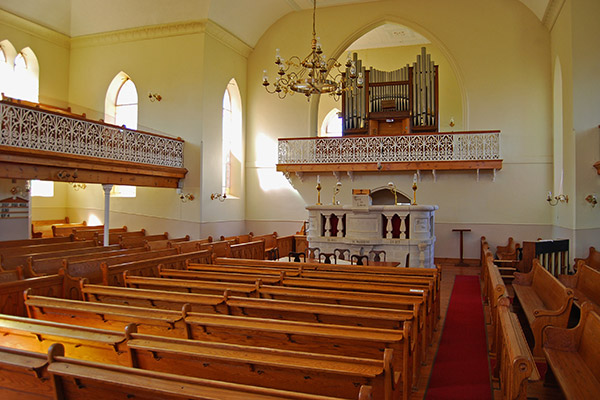 Interior view of the Neo Gothic Nieuwoudtville Dutch Reformed Church