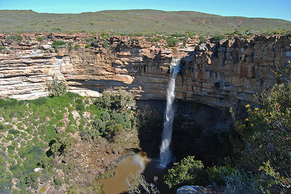 The Nieuwoudtville Waterfall plunges into the Maaierskloof