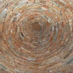The inside view of the Corbelled House Roof rebuilt outside the Carnarvon Museum
