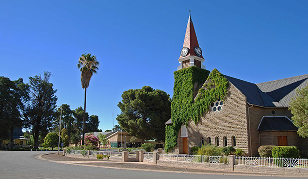 Loxton Dutch Reformed Church dominates the central Village Square