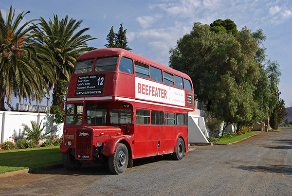 Public transport in Matjiesfontein is provided by a London bus