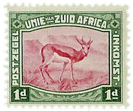 The Springbok is celebrated on this 1923 South African Revenue Stamp