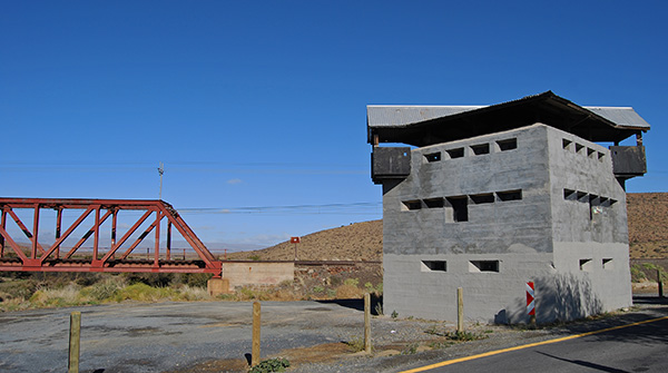 The Anglo Boer War Blockhouse guards the railway bridge across the Geelbek River