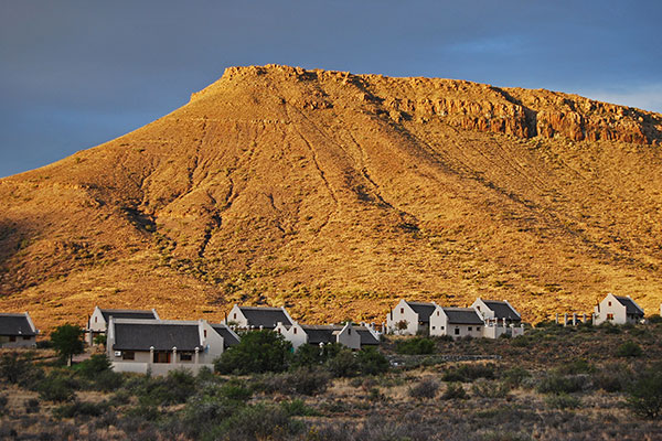 The Karoo National Park Rest Camp bathed in the glow of evening sunlight