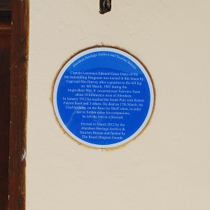 Oates historical plaque at 16 Brand Street in Aberdeen
