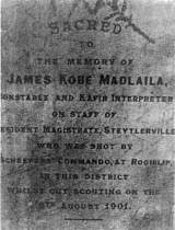 James Kobe Madlaila of Steytlerville, a casualty of the Anglo Boer War