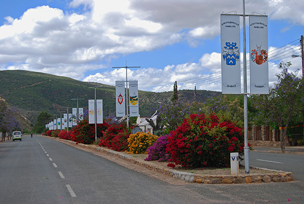 Family Crests decorate Steytlerville's Piet Retief Street