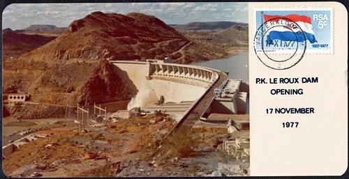 First Day Cover Commemorating the opening of the P.K. le Roux Dam